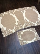ROMANY GYPSY WASHABLES SETS OF 4 MATS/RUGS ROSES CREAM-BEIGE NON SLIP GREAT MATS